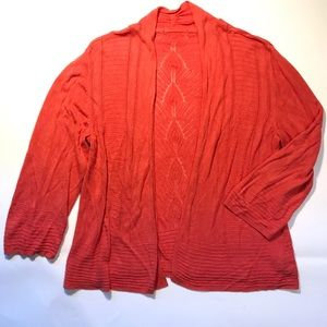 89th&Madison Open Knit Cardigan Duster Coral Med